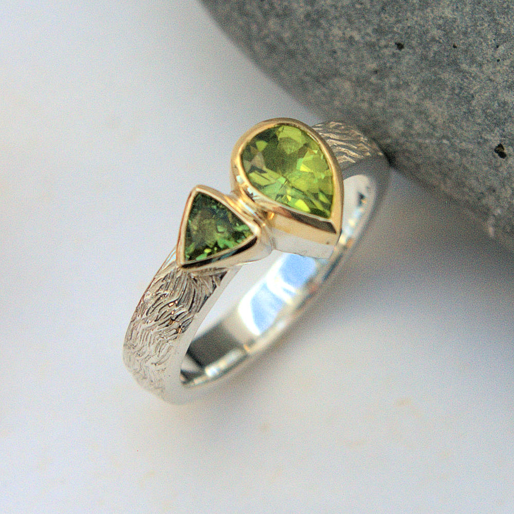 Peridot & Green Tourmaline ring