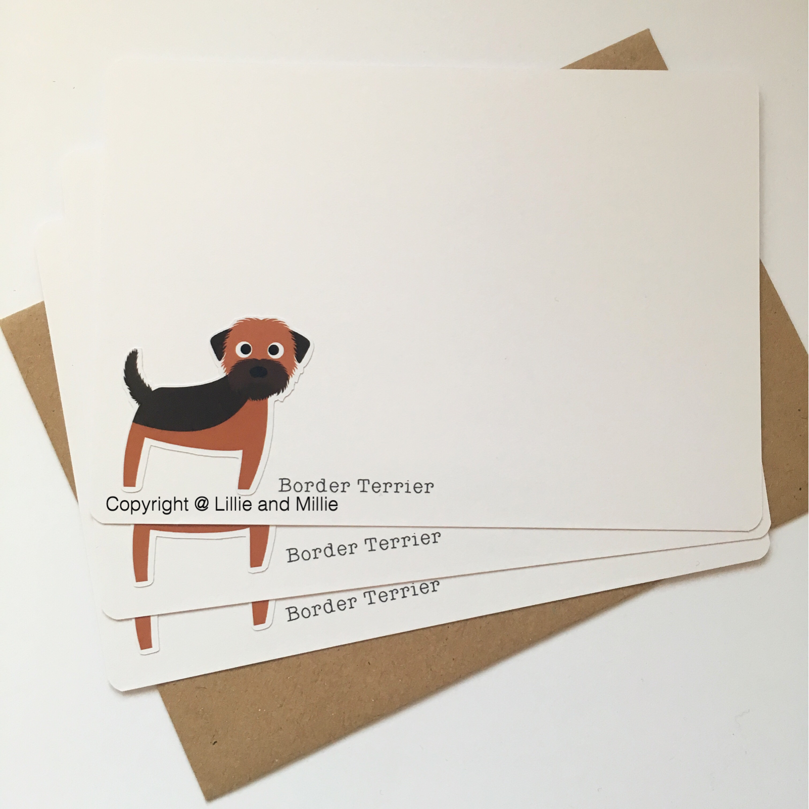 Cute and Cuddly Border Terrier SALE Notelet Cards