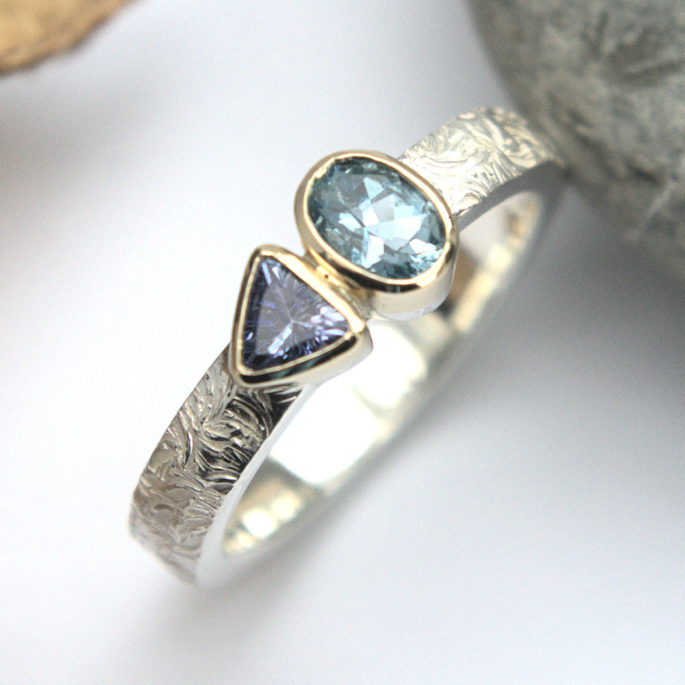 aquamarine & tanzanite ring