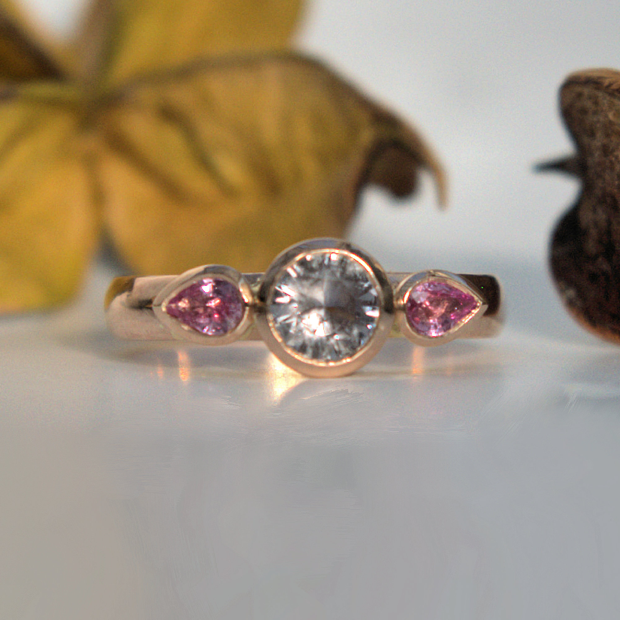 Grey and pink Sapphire ring