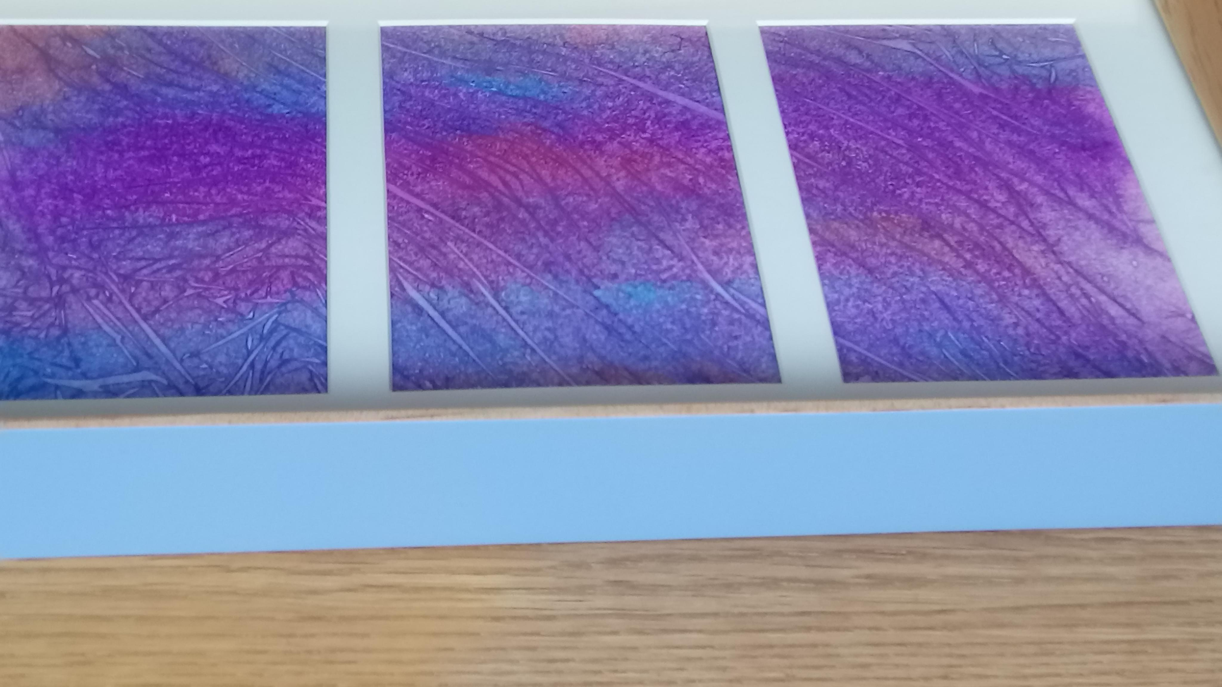 trio - mixed media blue pink purple