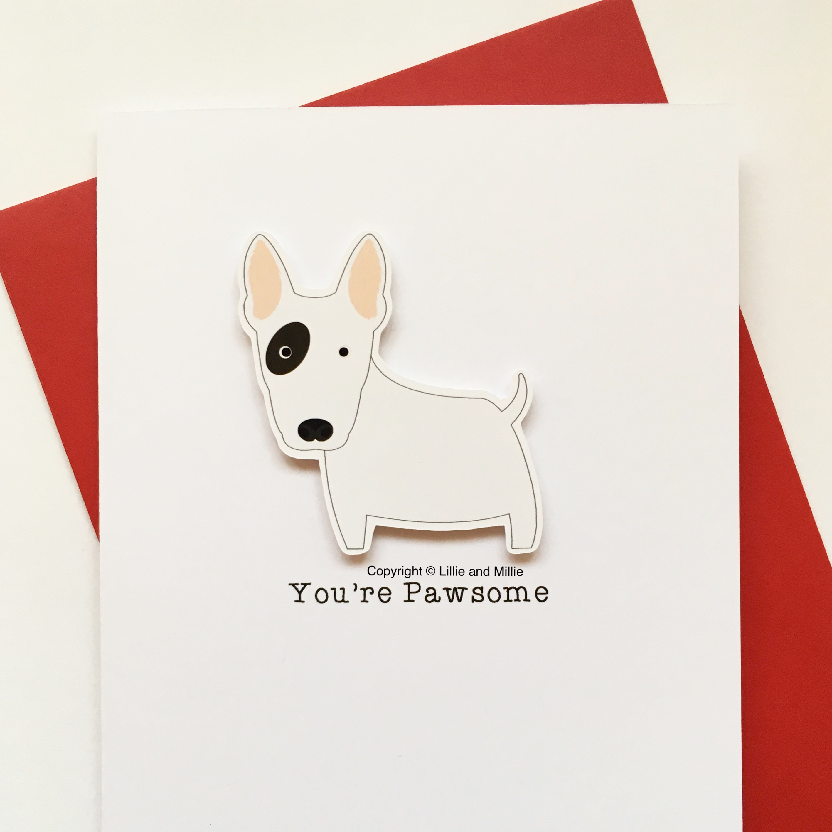 Cute and Cuddly Eye Patch Bull Terrier Pawsome Card