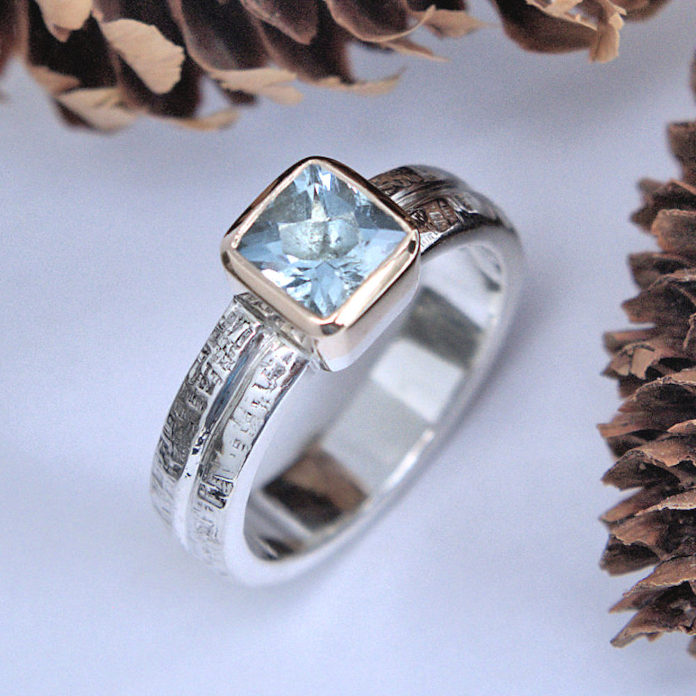 aquamarine cushion ring