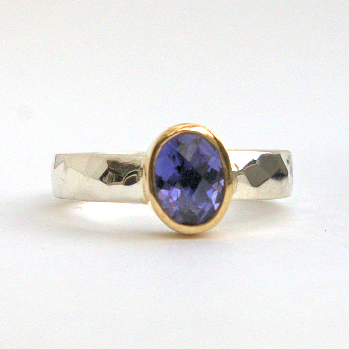 Iolite silver & gold ring