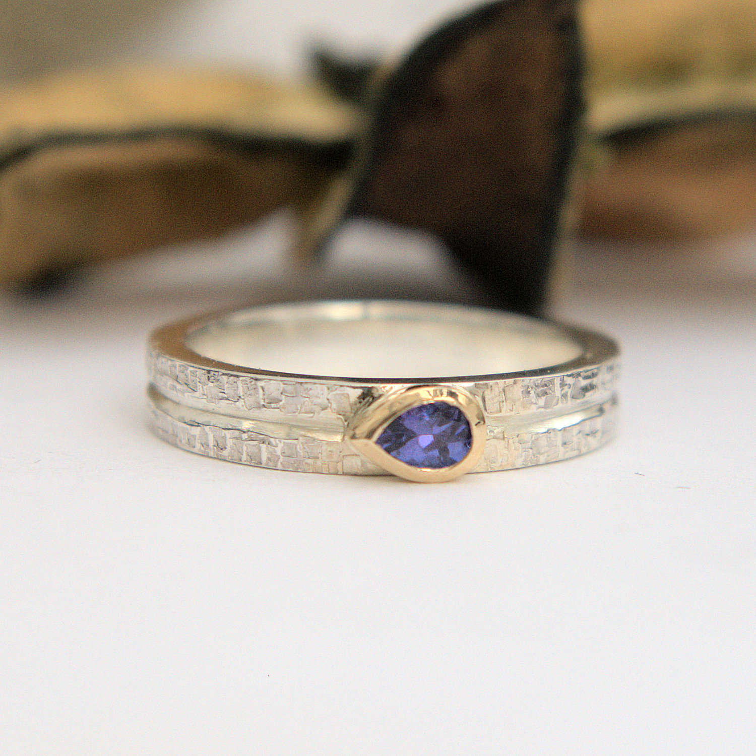 Tanzanite silver gold ring