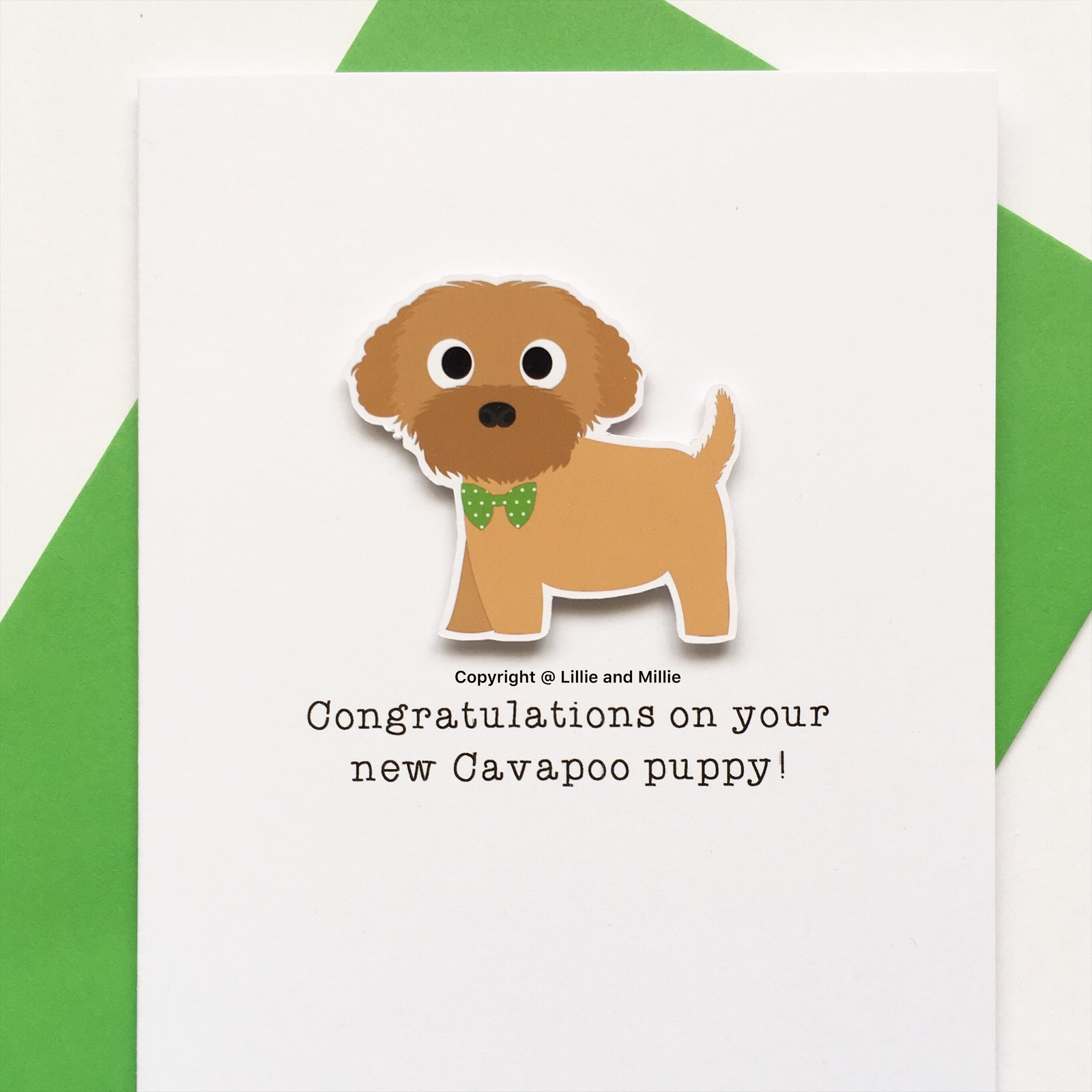 Cute and Cuddly Red Cavapoo Green Bow Congratulations Puppy Card