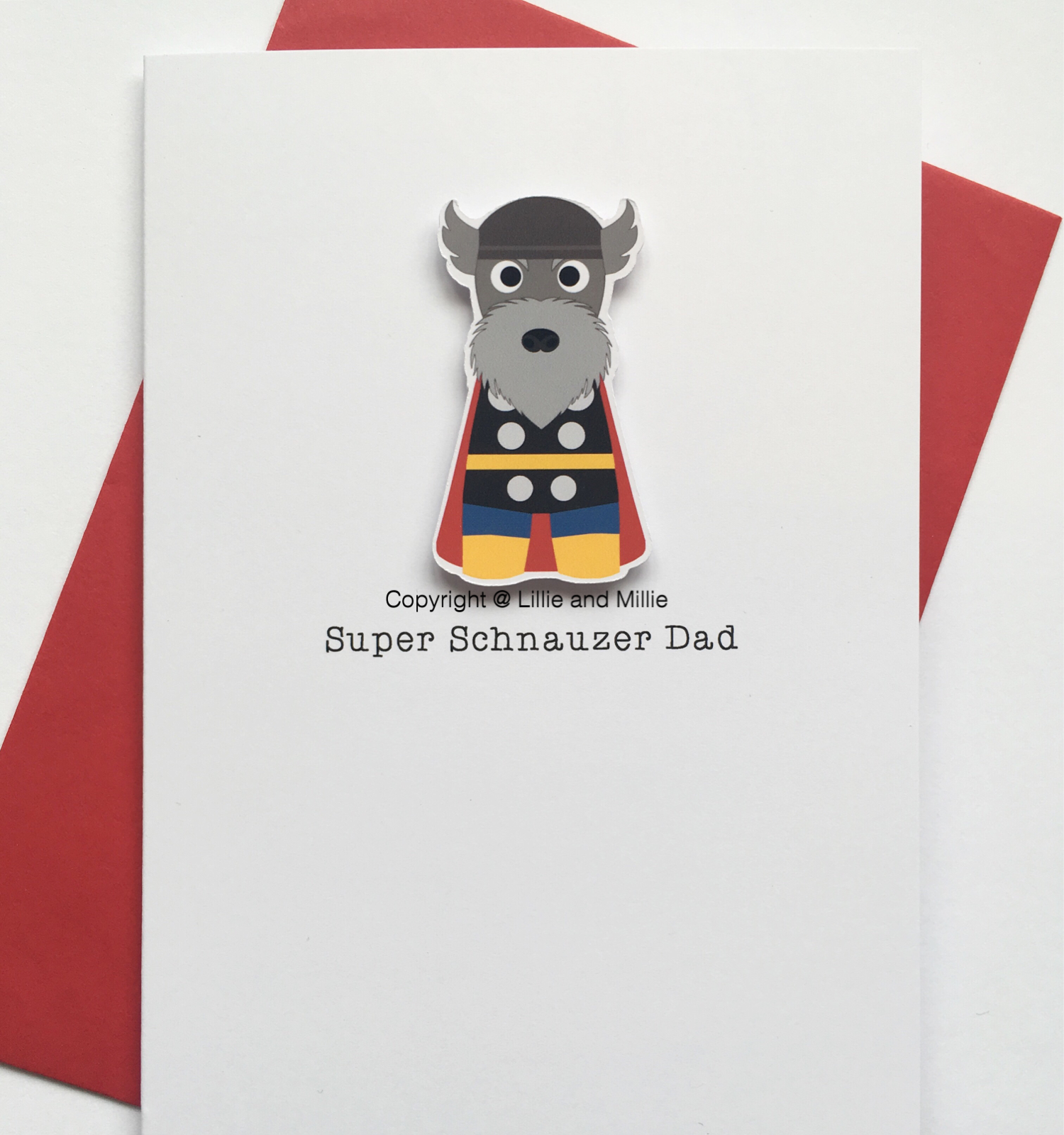 Cute and Cuddly Super Comic Version Thor Schnauzer Dad Card