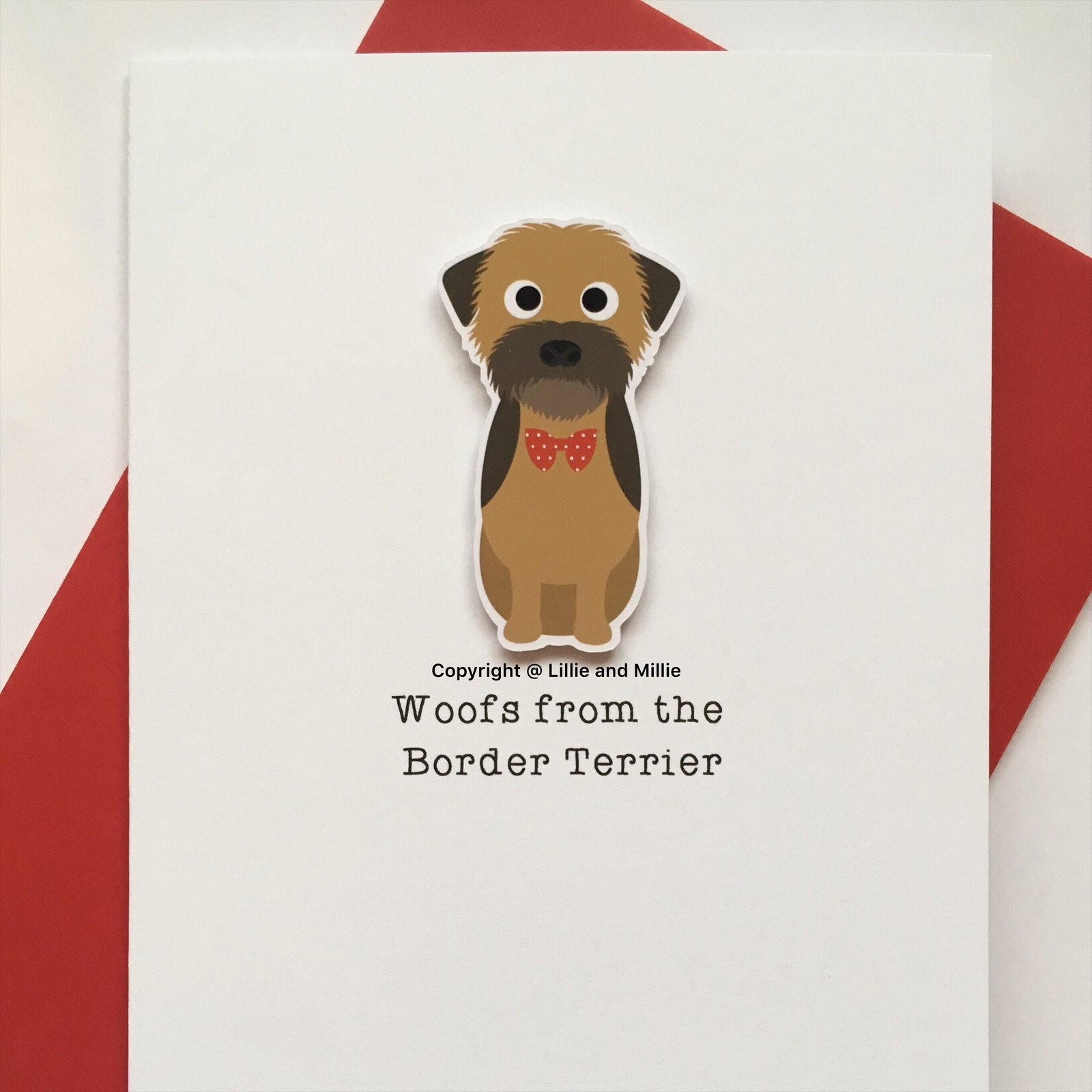 Cute and Cuddly Sitting Border Terrier Woofs Card