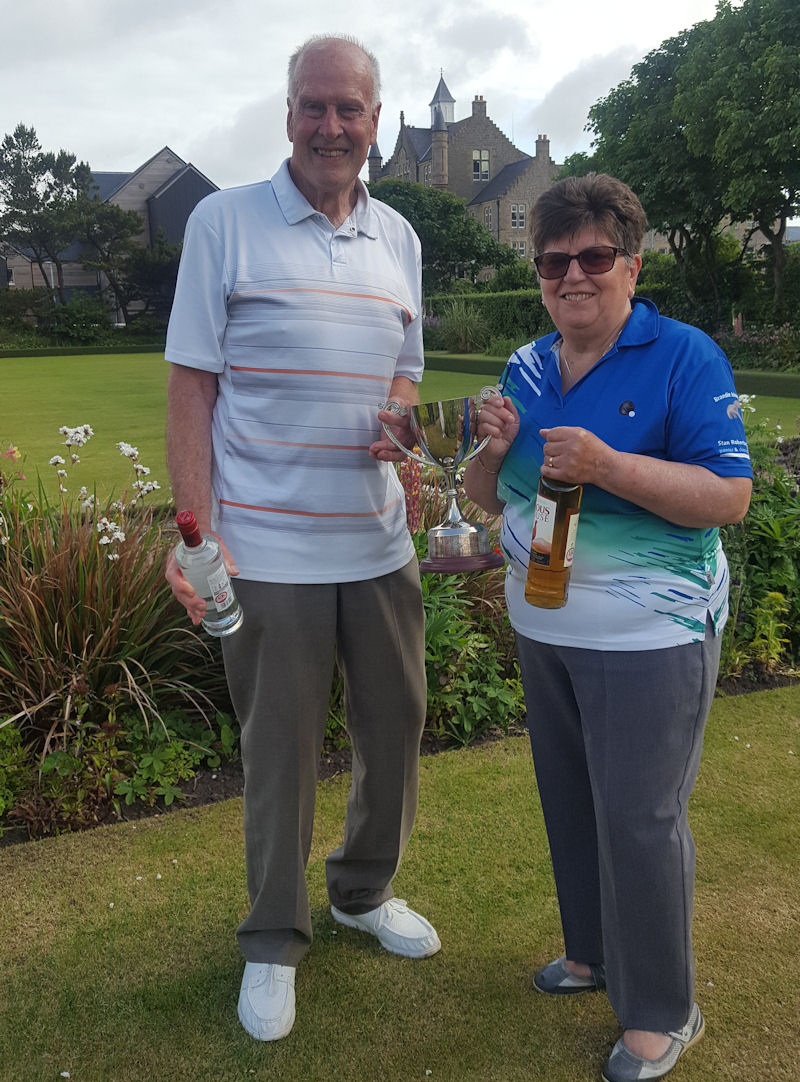 Mike Bailey and Anne Barron with the trophy