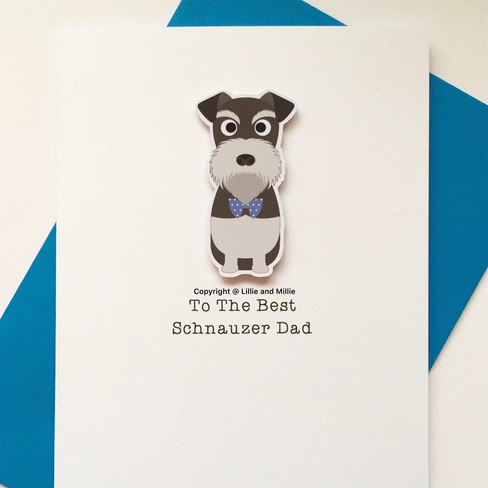 Cute and Cuddly Pepper and Salt To the Best Schnauzer Dad Card
