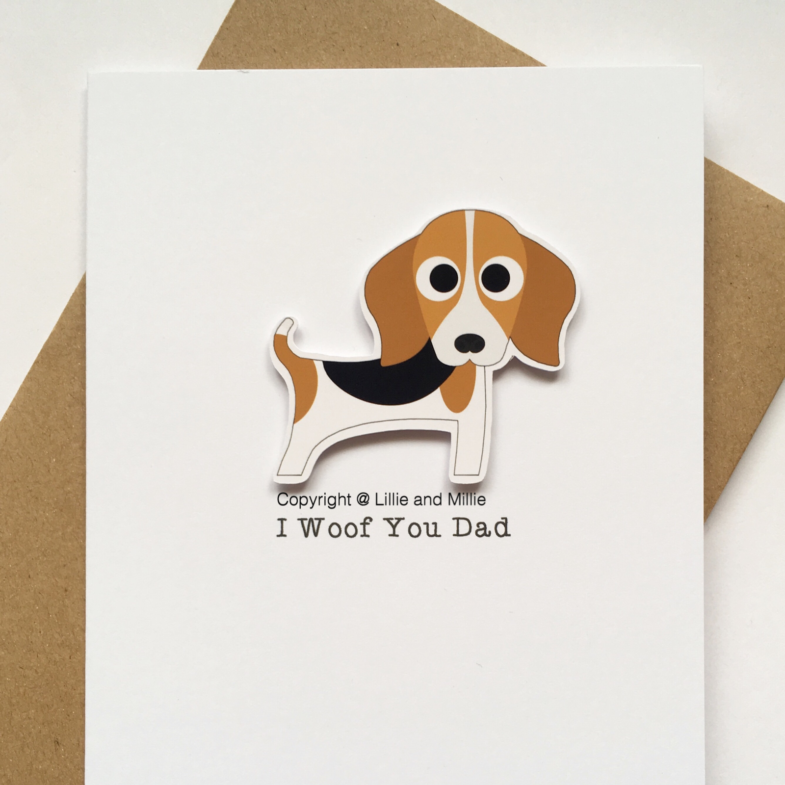 Cute and Cuddly Beagle I Woof You Dad Card