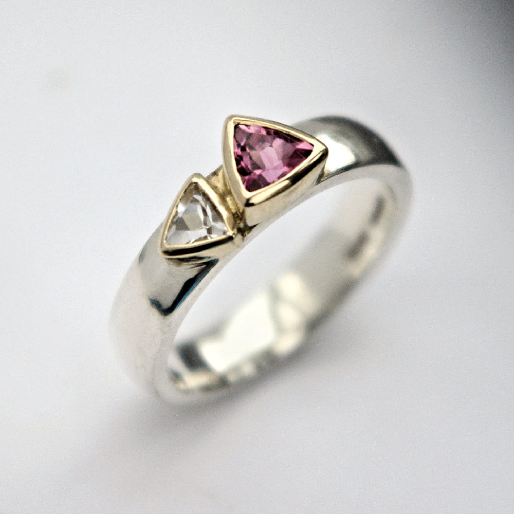 Tourmaline & white Topaz ring