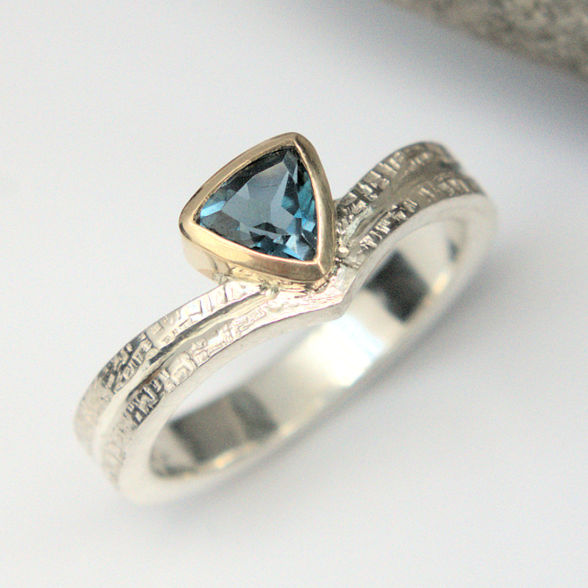 Blue topaz wishbone ring