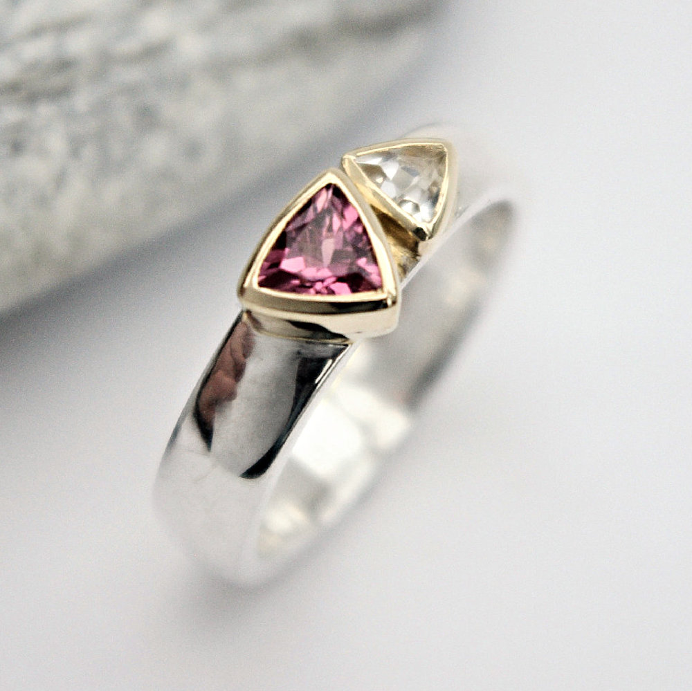 Tourmaline and white topaz ring