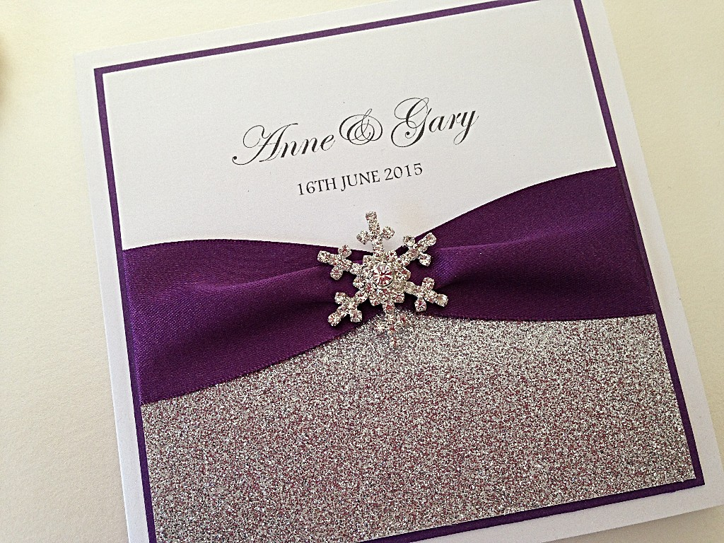 Wedding Stationery, glitter, snowflake christmas wedding pocket