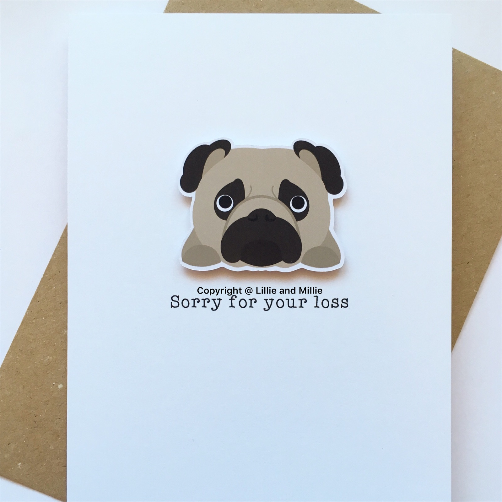 Precious Pooch Fawn Pug Sorry For Your Loss Sympathy Card