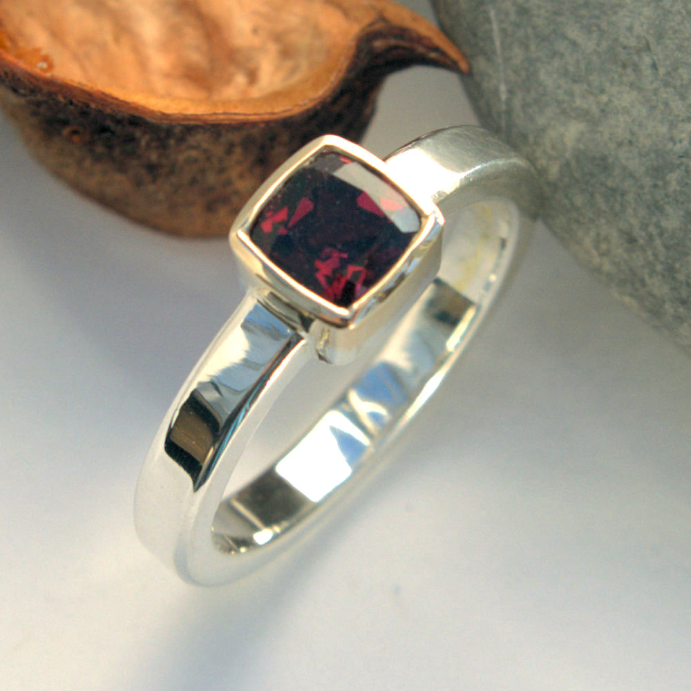 cushion Garnet ring