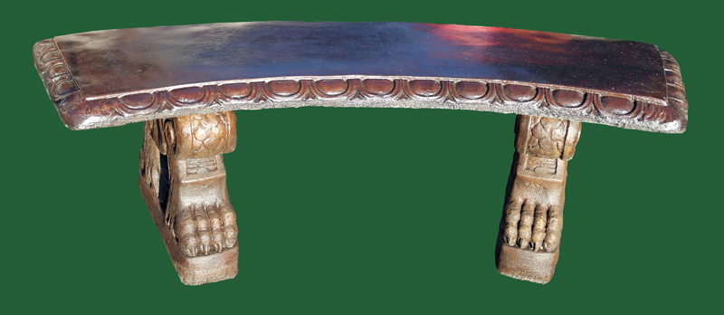 CURVED PATTERNED BENCH ON SCROLL BASES STONE GARDEN STATUE BURNT UMBER BRONZE