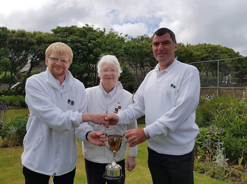 Winners of Morton Lodge Open Pairs Scott Hurst and Margaret Johnson. Trophy presented on behalf of Morton Lodge by Donald Campbell.
