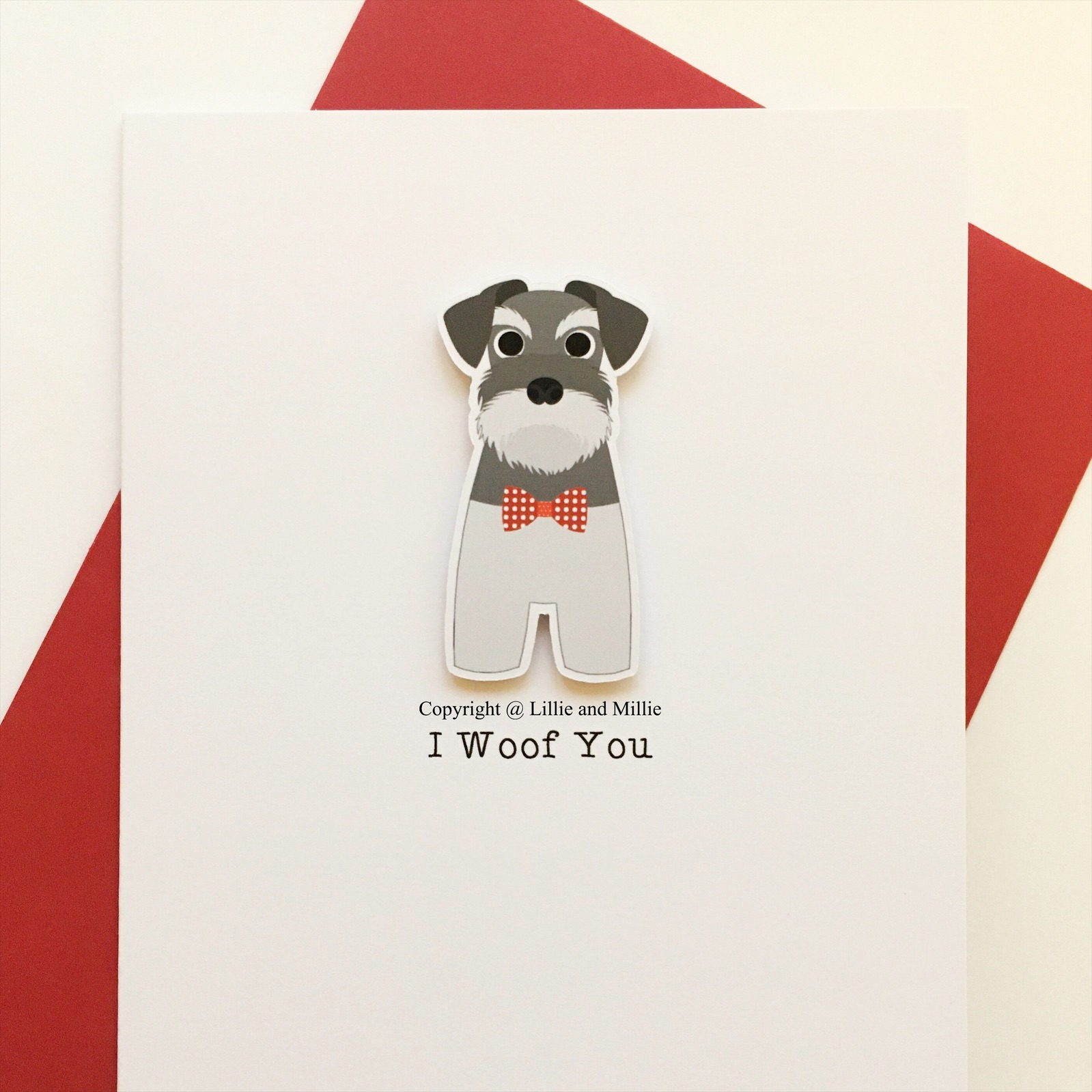 SALE Precious Pooch Standing I Woof You Schnauzer Card