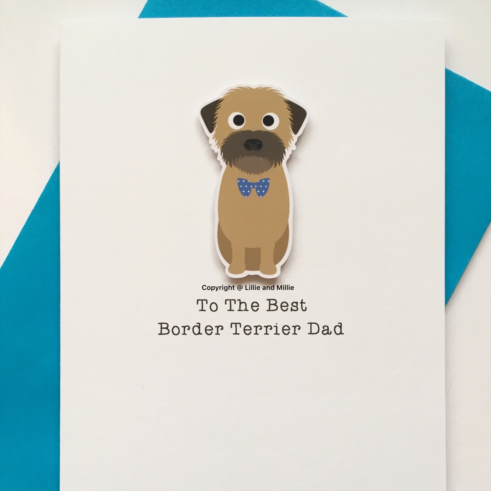 Cute and Cuddly Sitting Wheaten Border Terrier Woofs Card Dad