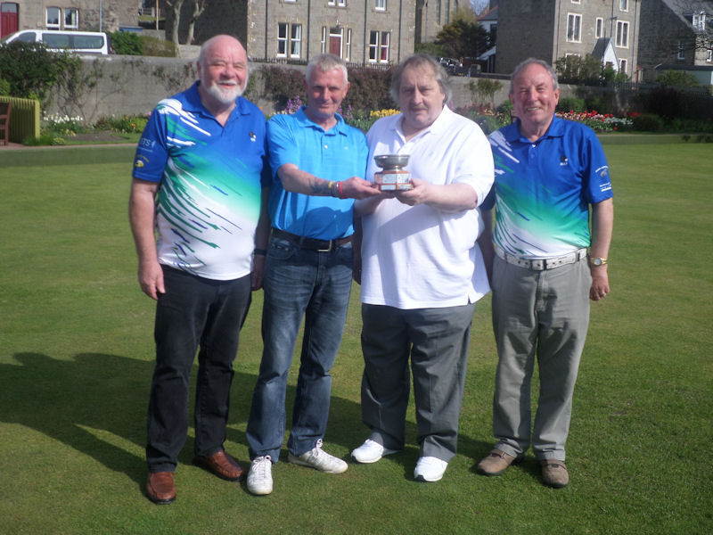 Bob Brandie, Bob Hamilton and Billy Hay receiving the Newhills Quaich from club vice-President Ewen MacRitchie.