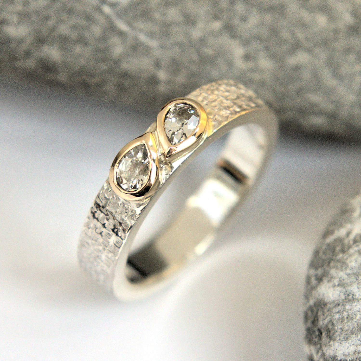 White sapphire gold & silver ring