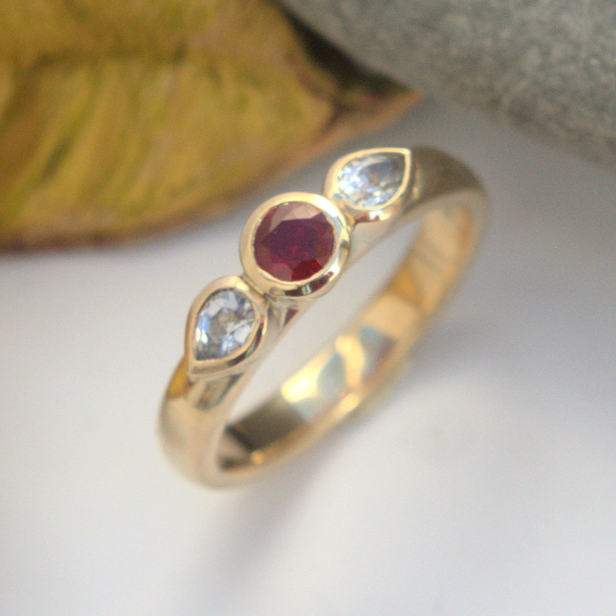 Ruby and white sapphire ring