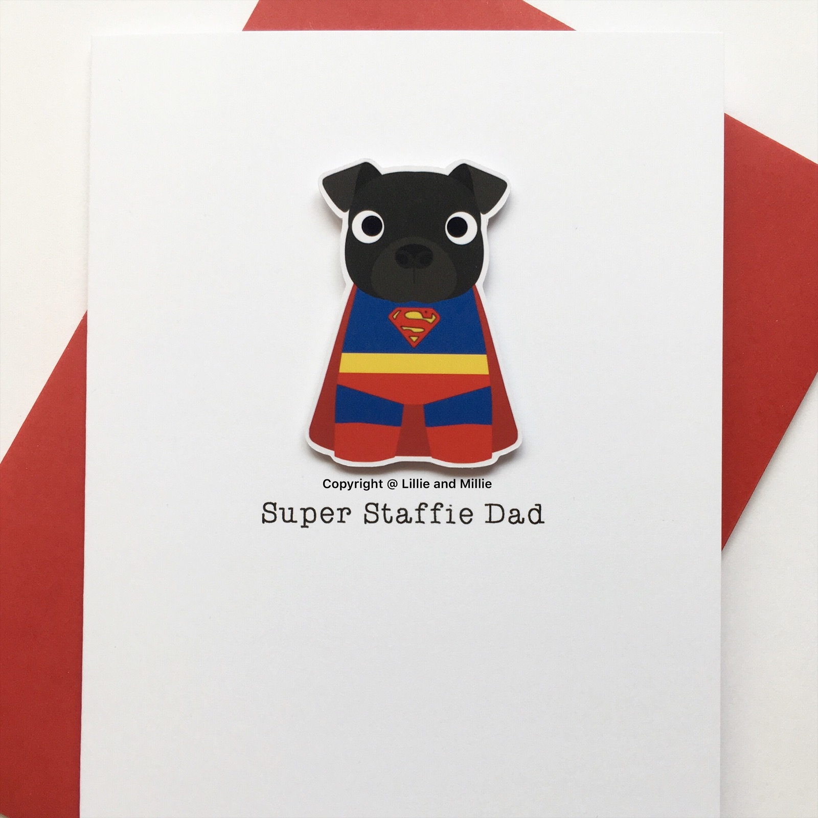 Cute and Cuddly Black Super Staffie Dad Card