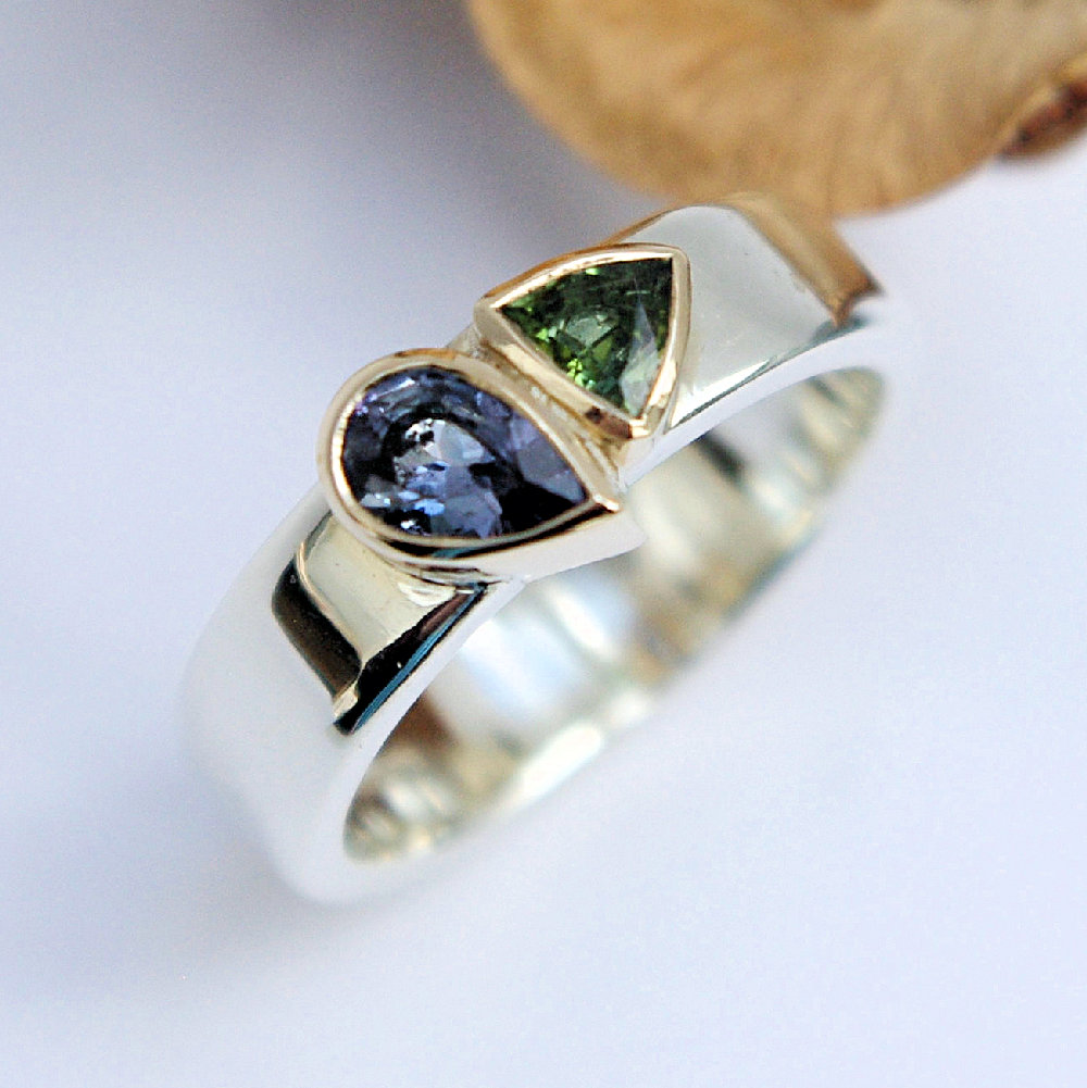 Tanzanite & green tourmaline