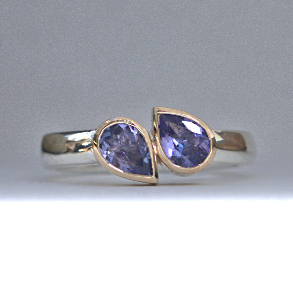 Tanzanite gold and silver ring