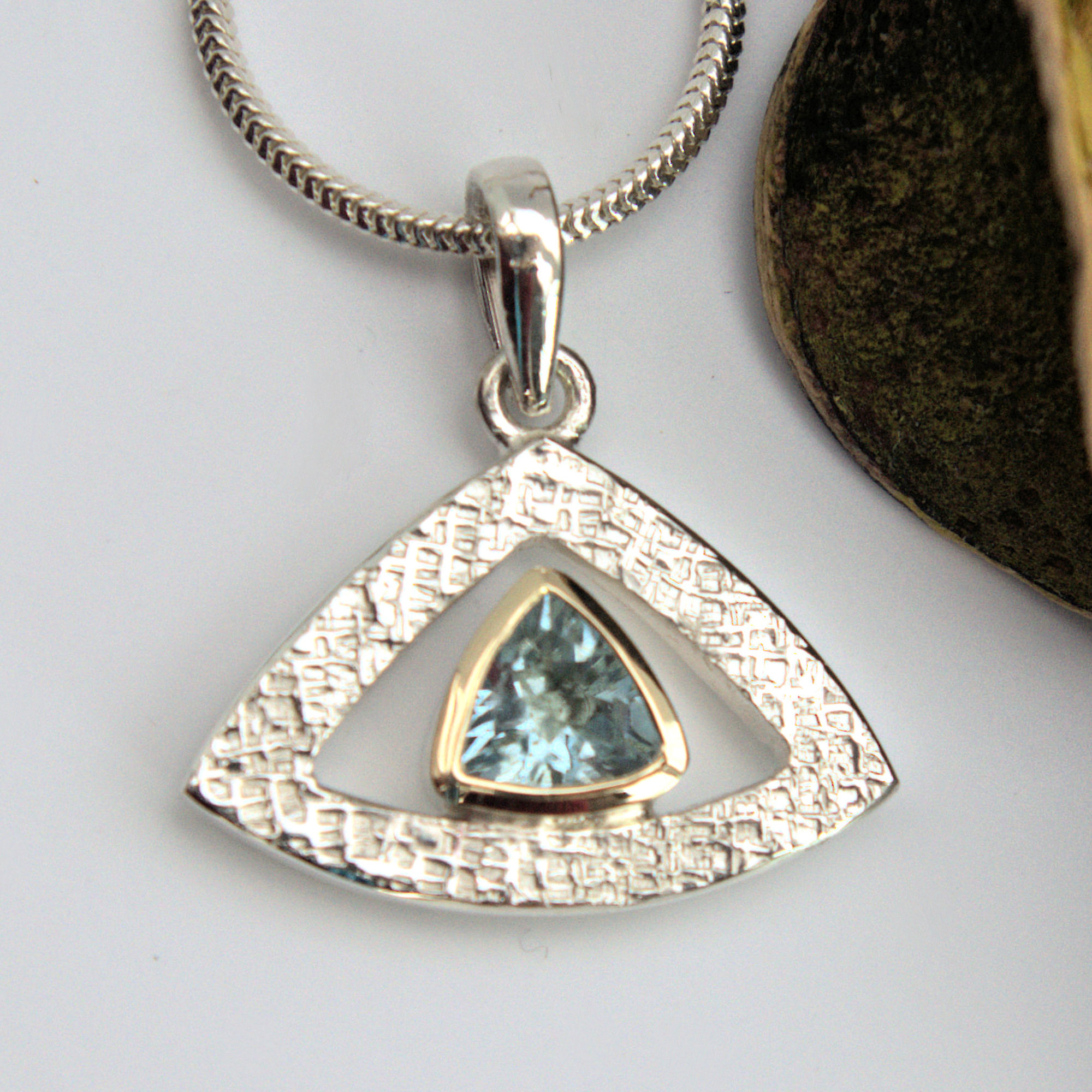 Aquamarine trillion pendant