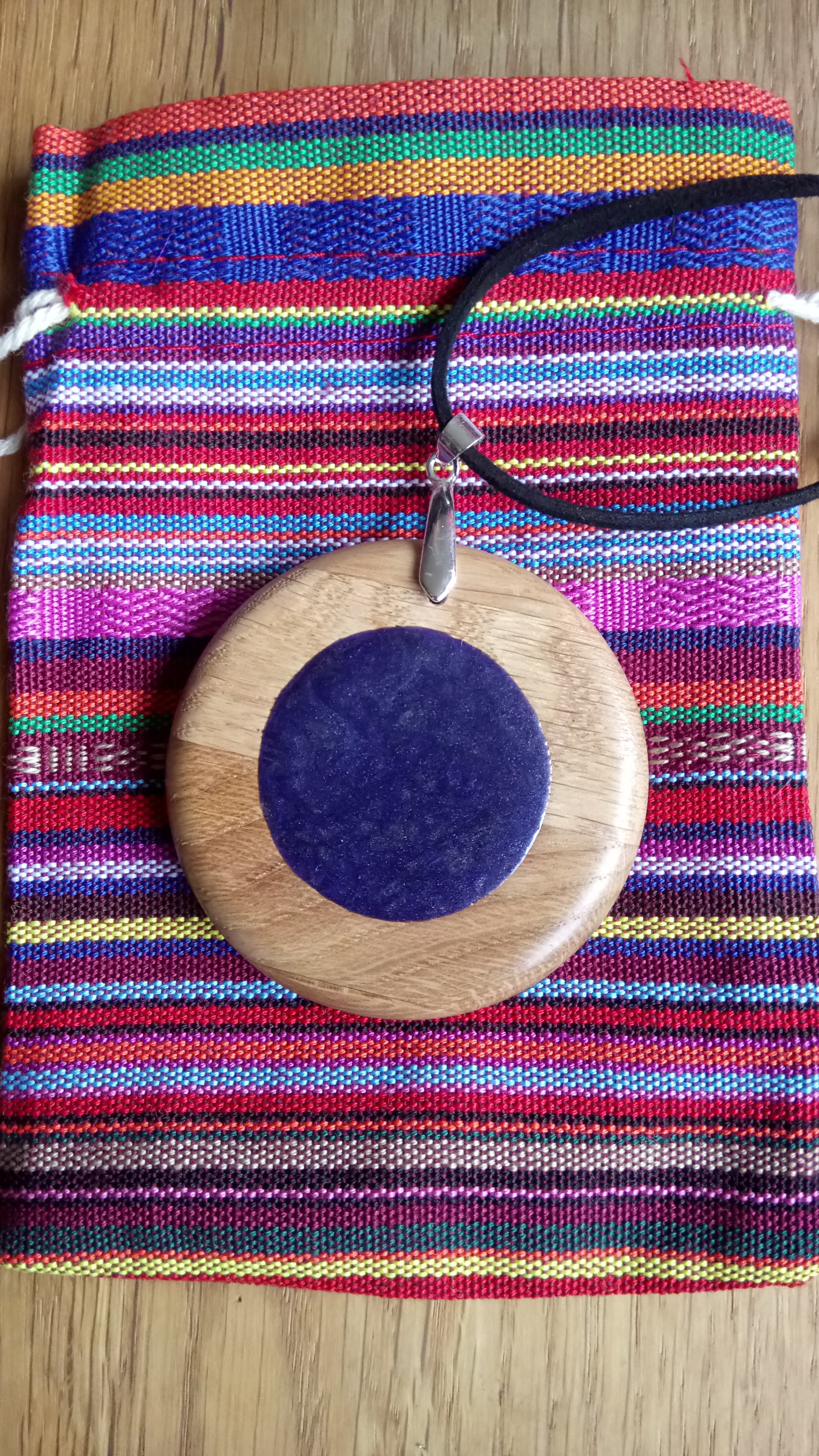 Wooden pendant - real silver and choice of colours