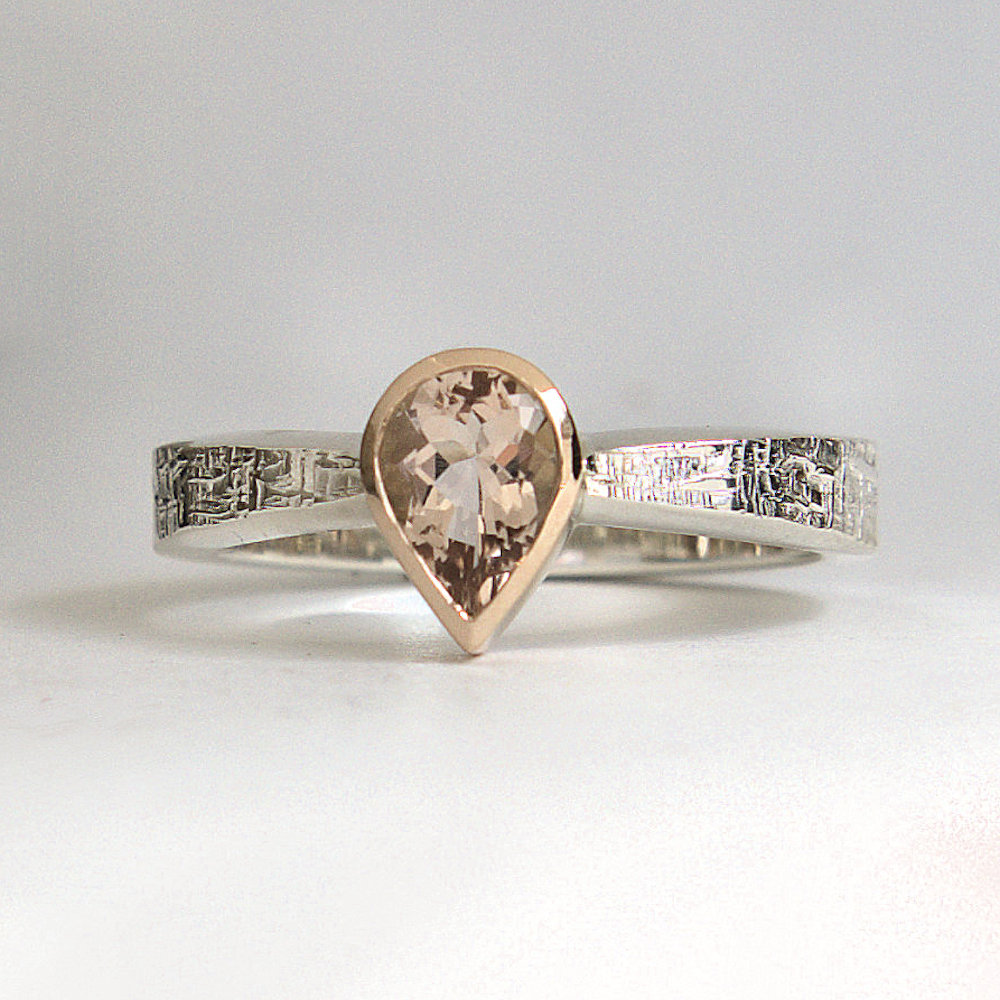 Morganite ring silver & gold ring