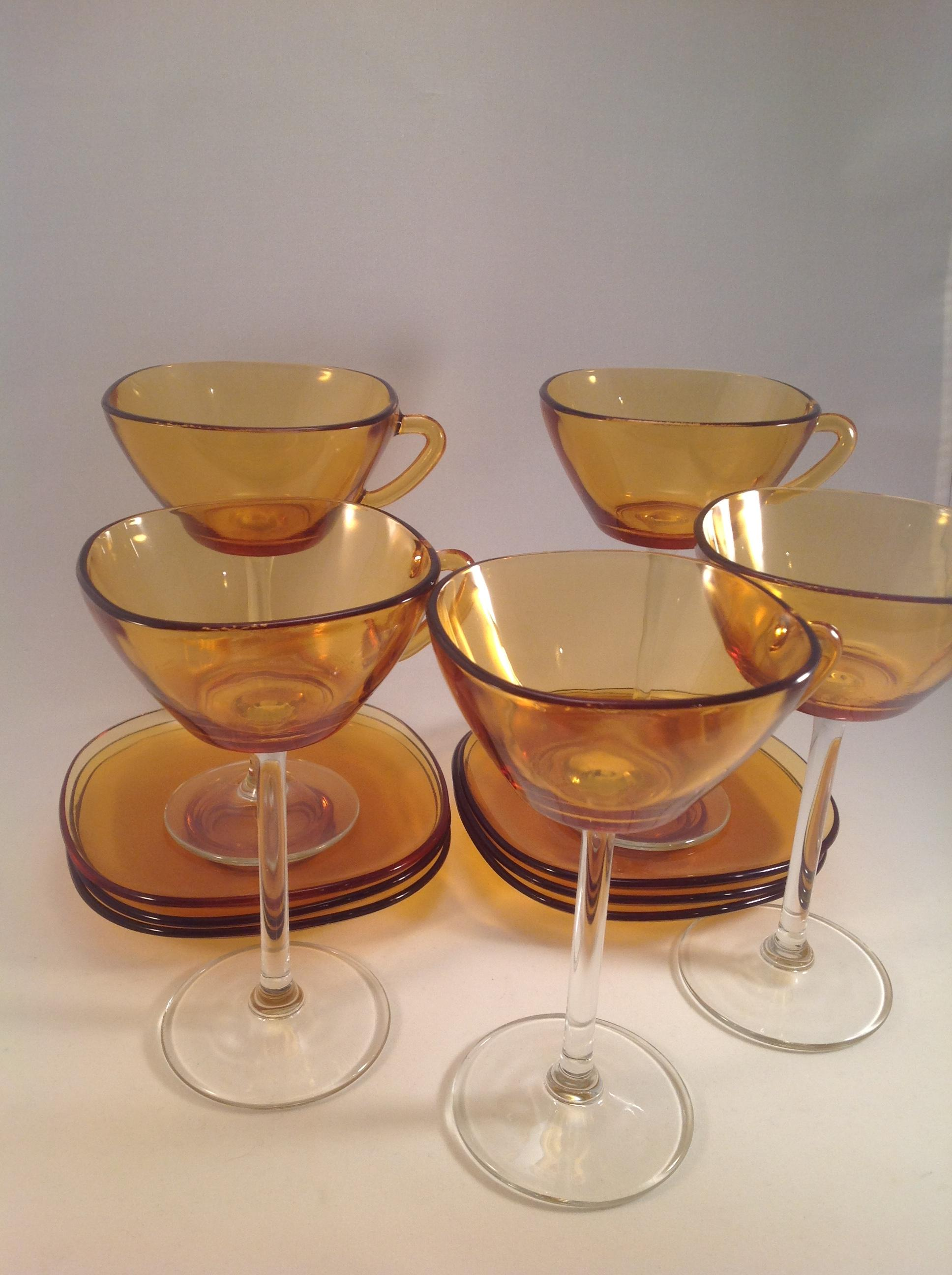 Amber French Arcoroc Set of Six