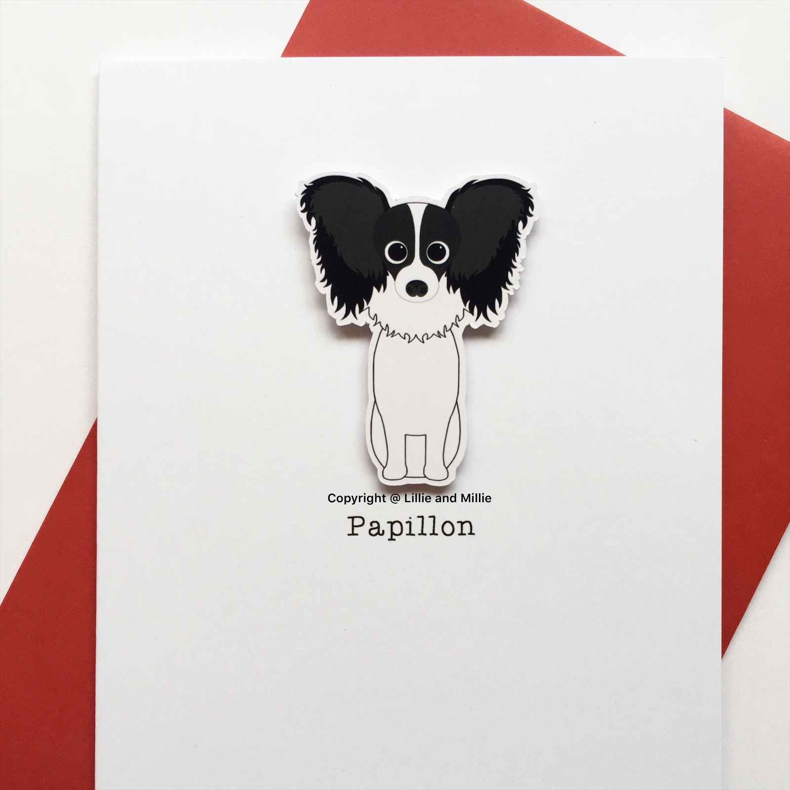 Cute and Cuddly Black and White Papillon Card