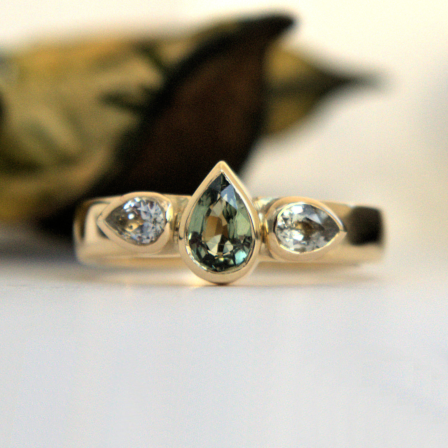 Green And White Sapphire ring