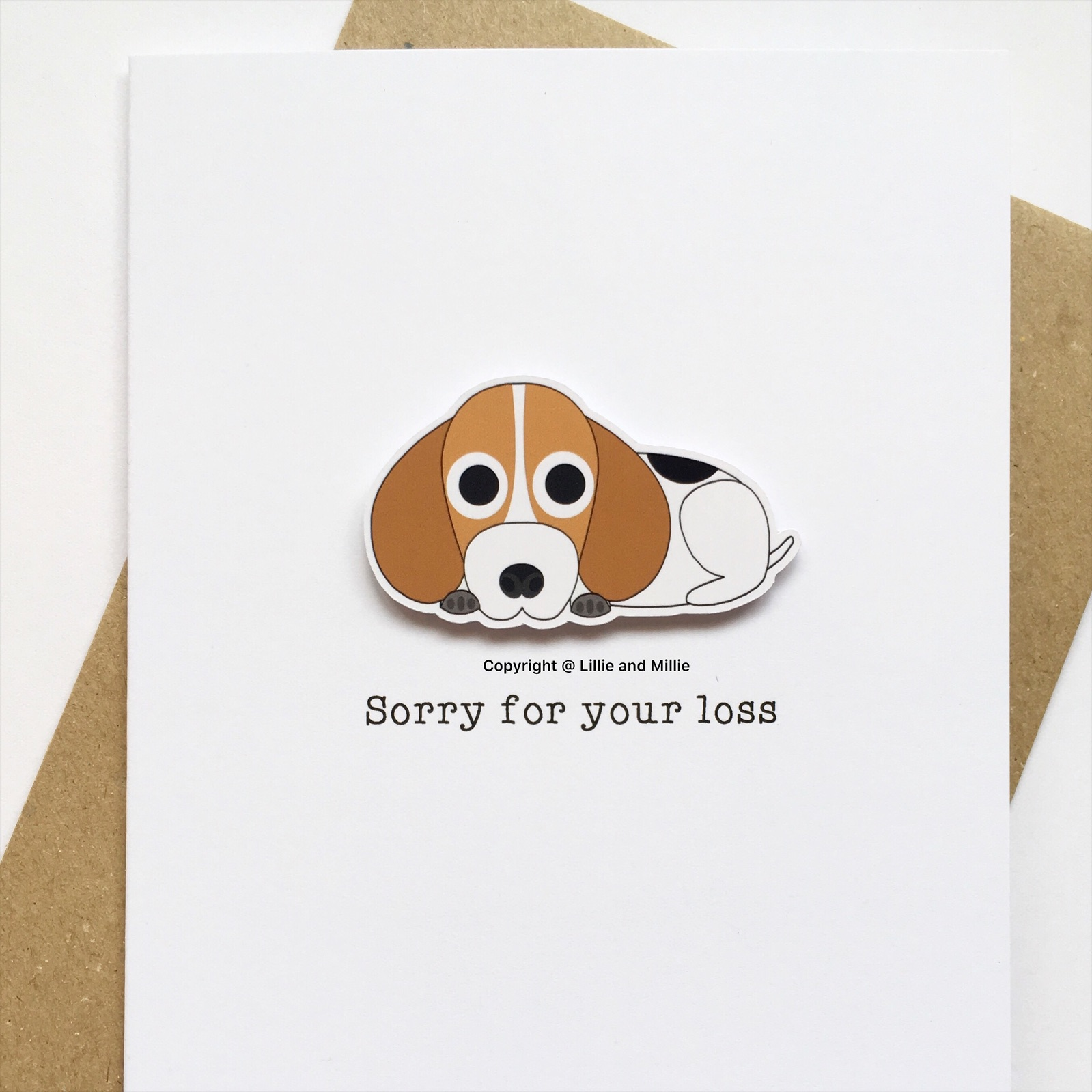 Cute and Cuddly Beagle Sorry For Your Loss Sympathy Card