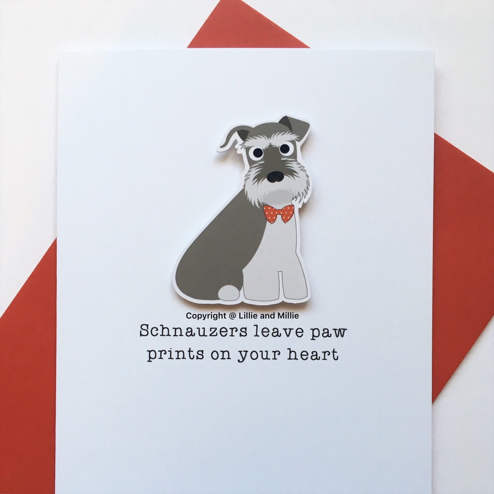 Precious Pooch Salt and Pepper Sitting Schnauzers Leave Paw Prints Sympathy Card