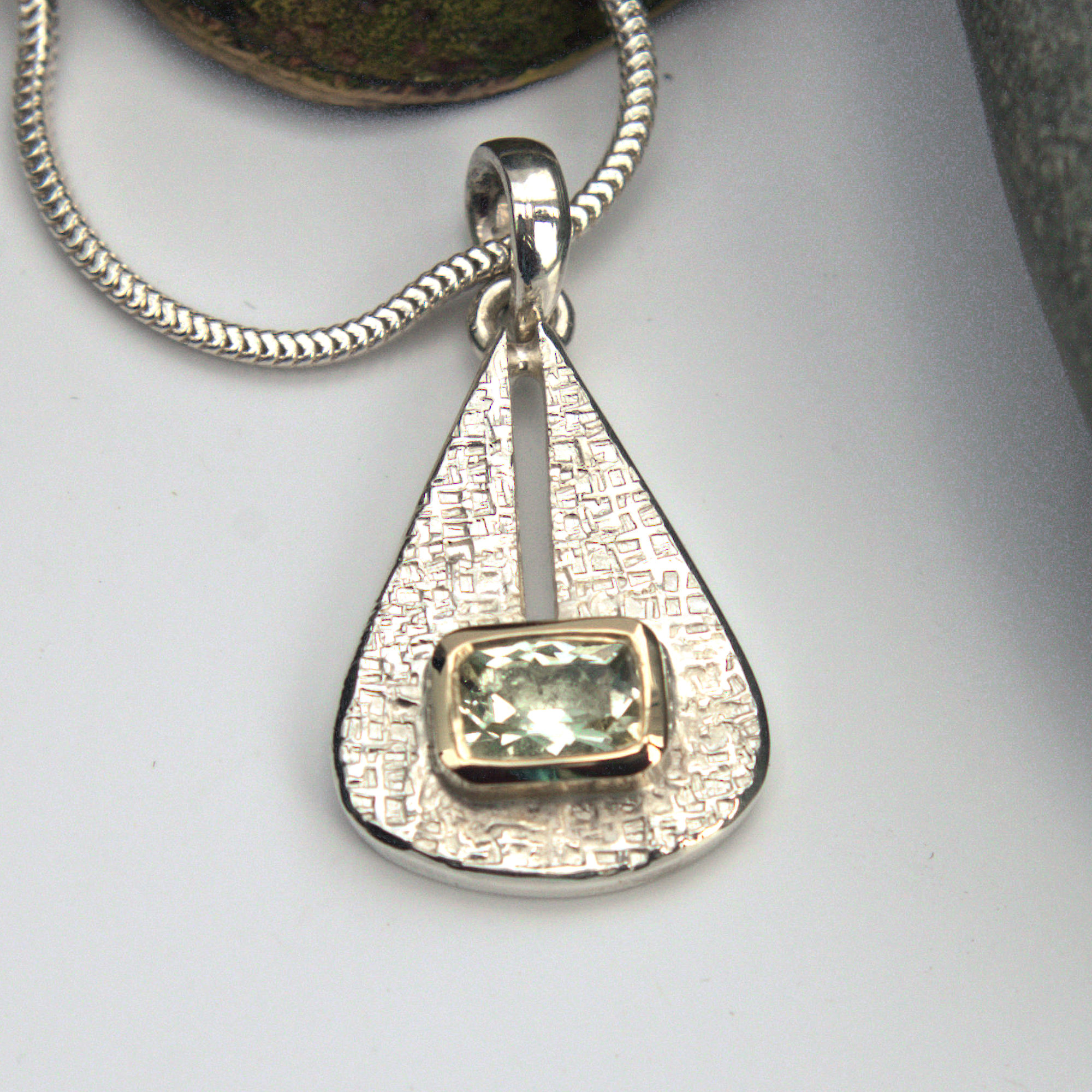 Green Beryl silver and gold pendant