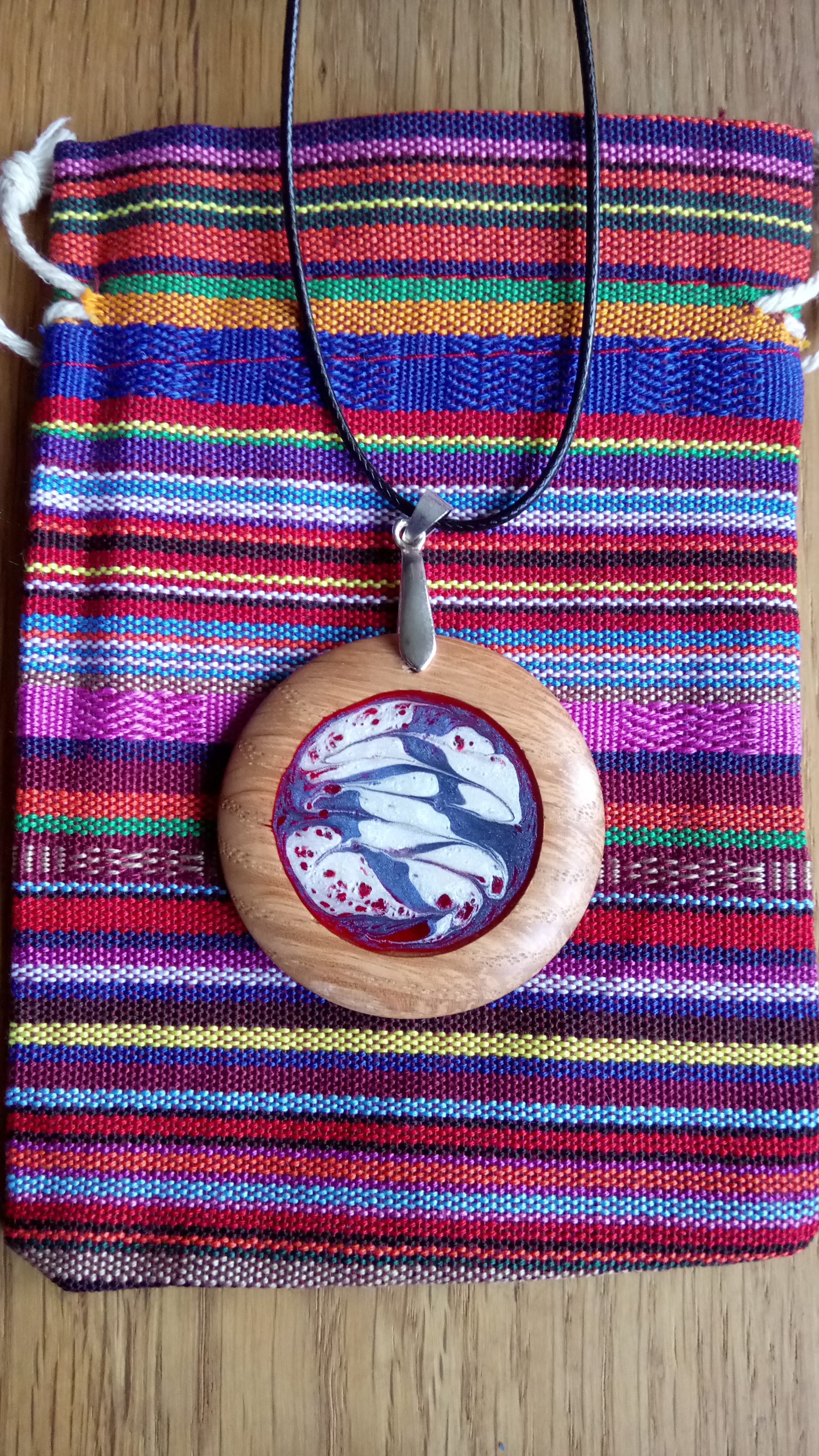 Wooden pendant - mixed colours