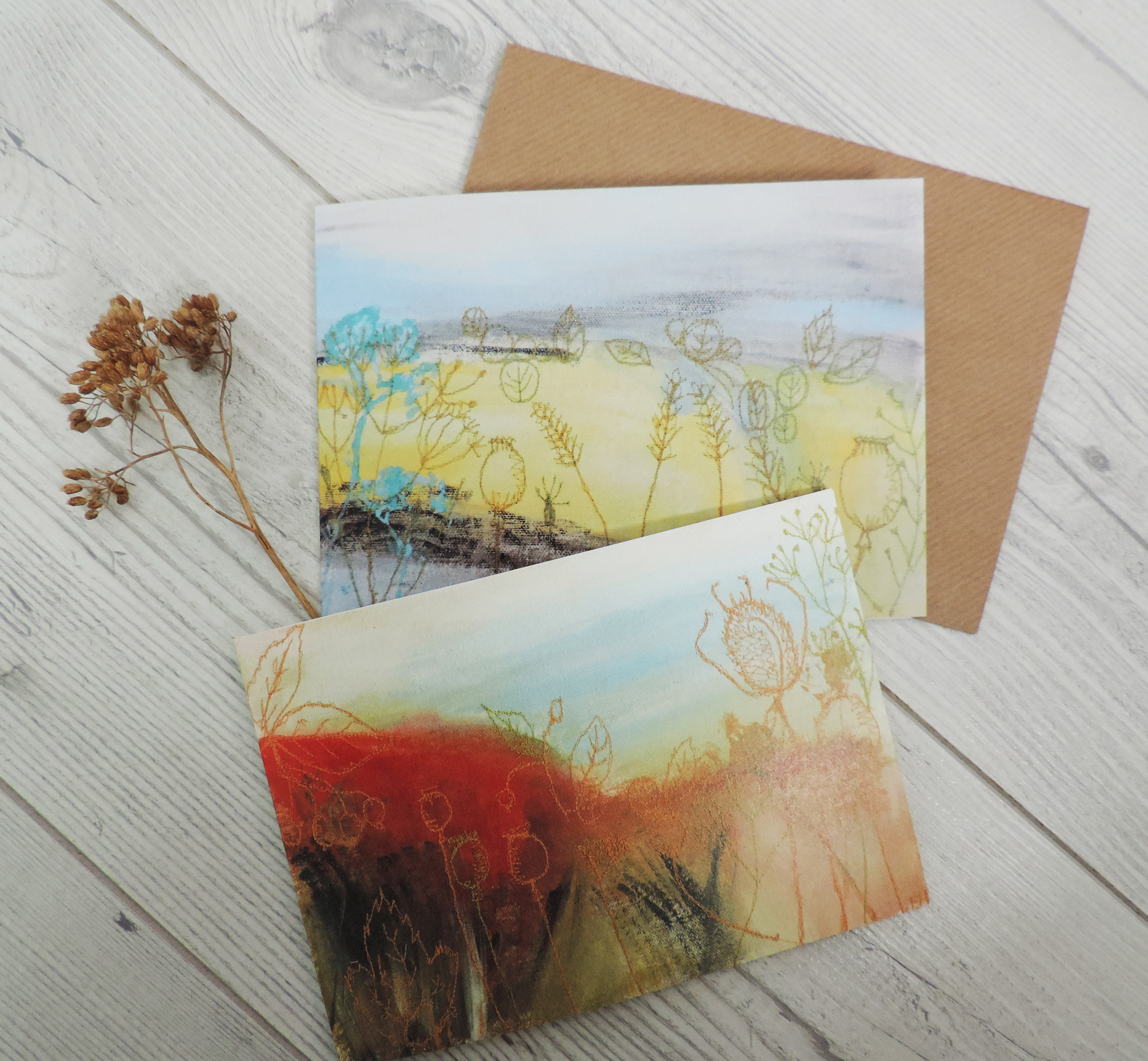 set of 2 Harvest/Autumn cards