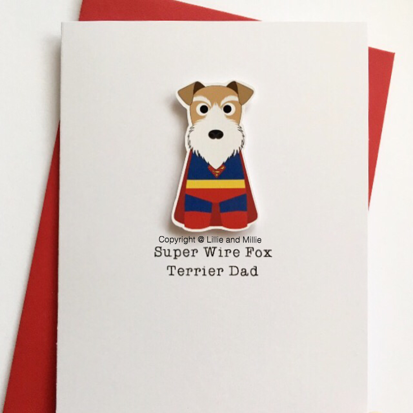 Cute and Cuddly Superhero Wire Fox Terrier Cards