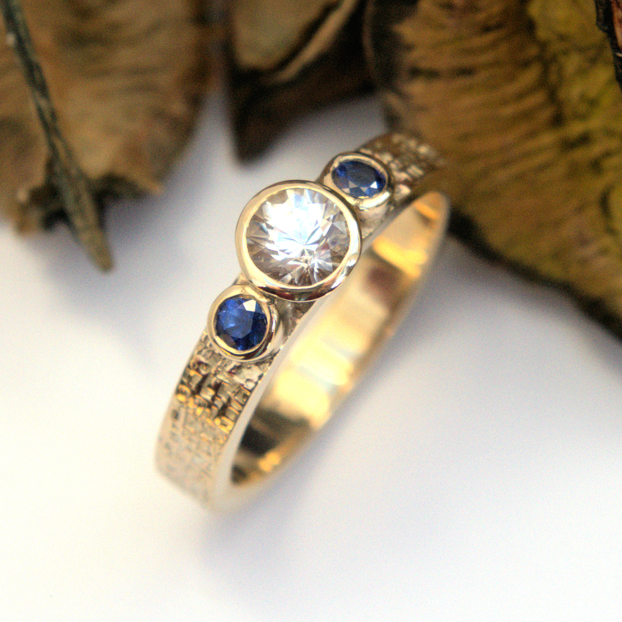White & Blue Sapphire ring
