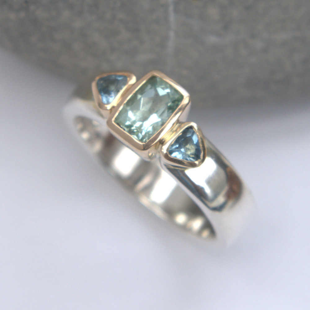 Green beryl & aquamarine ring
