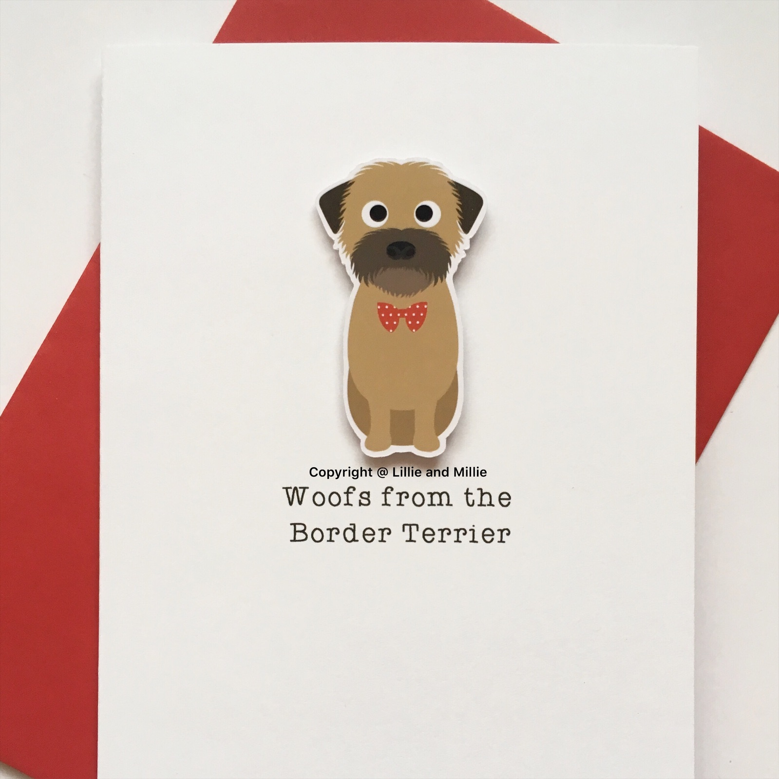 Cute and Cuddly Sitting Wheaten Border Terrier Woofs Card