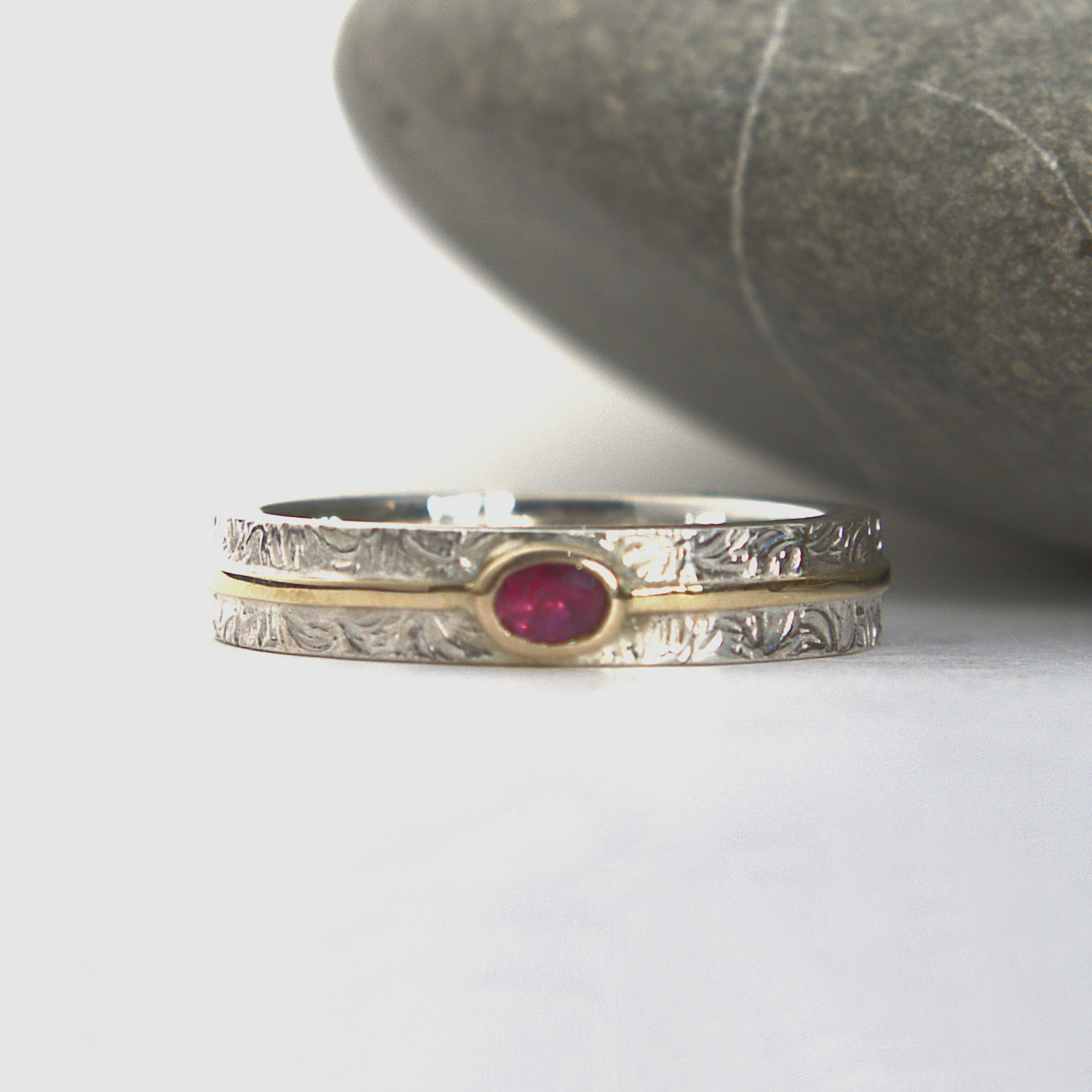 Ruby silver and gold ring