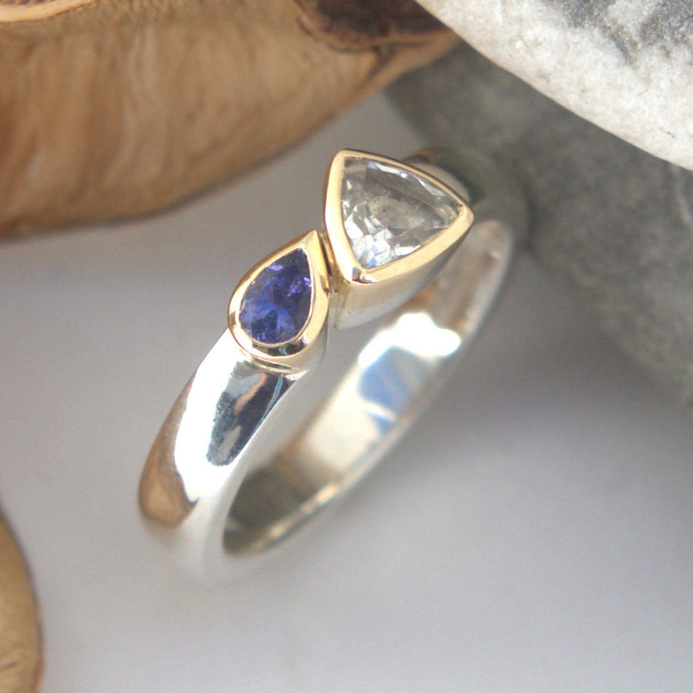 White topaz & tanzanite ring