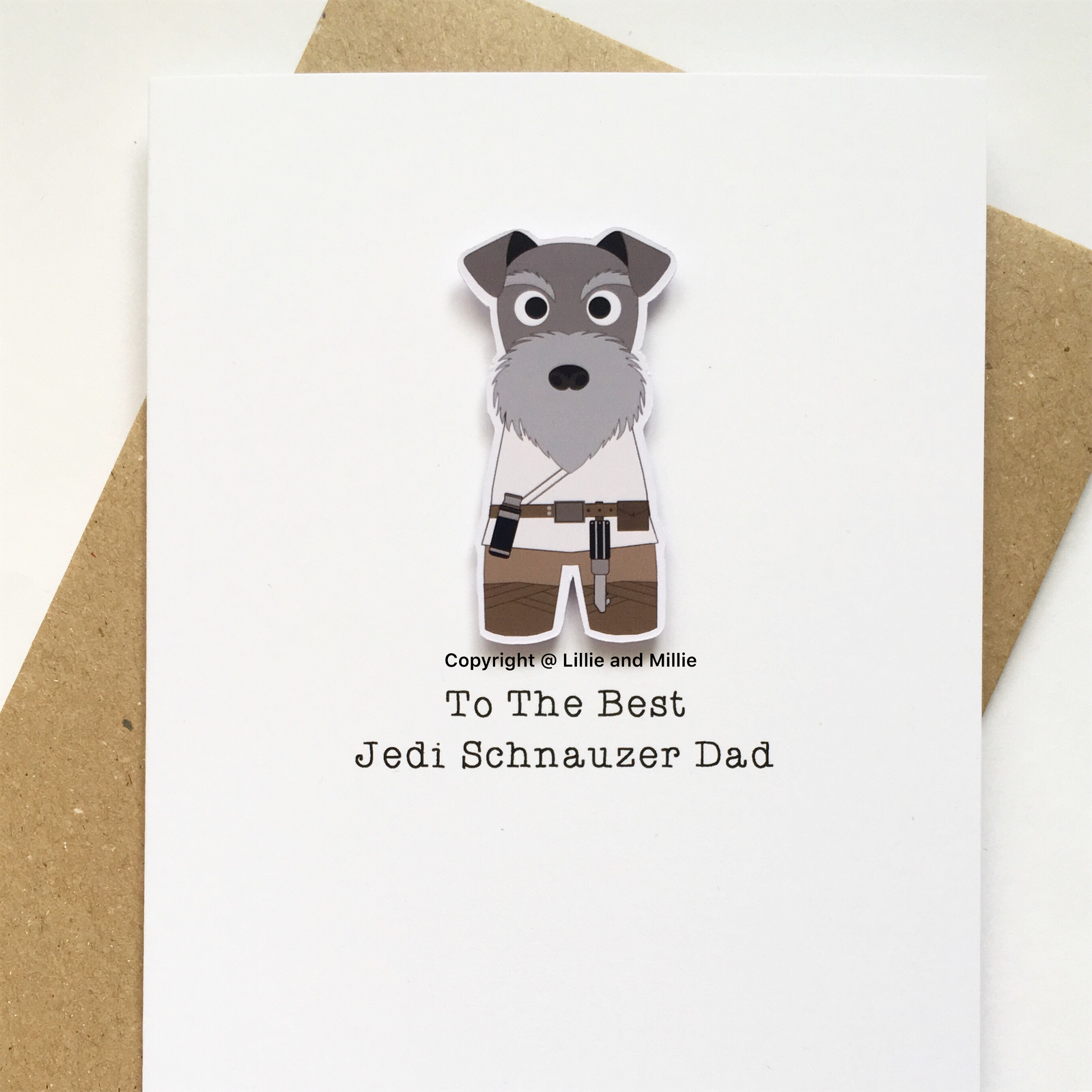 Cute and Cuddly Salt and Pepper Jedi Schnauzer Dad Card