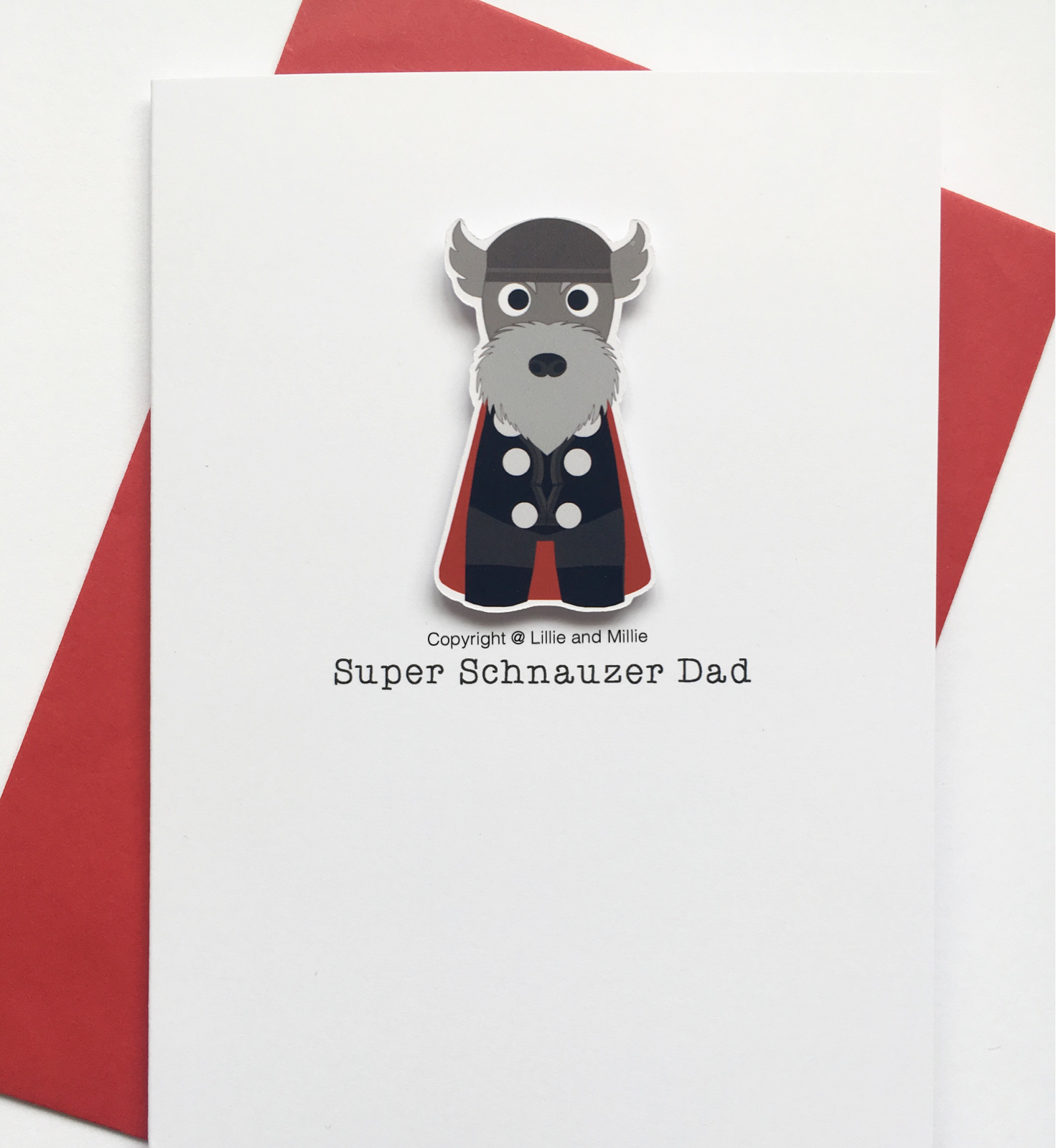 Cute and Cuddly Super Thor Schnauzer Dad Card